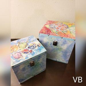 Decorative Fish Art Keepsake Boxes Set of 2.